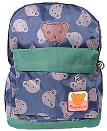 School Bag Teddy Print Blue And Green