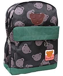 School Bag Teddy Print Black And Green