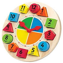 Tidlo Wooden Sorting And Teaching Clock - 10.23 X 10.23 X 1.96 Inches