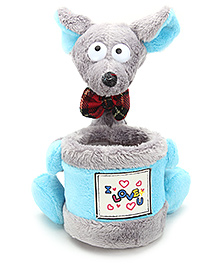 Pencil Holder With Soft Toy I Love You Print Grey - 13 X 15 X 16 Cm