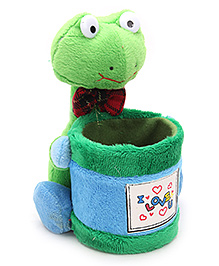 Pencil Holder With Soft Toy Green - 13 X 15 X 16 Cm