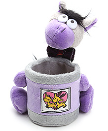 Pencil Holder With Soft Toy Purple - 13 X 15 X 16 Cm