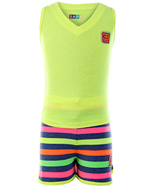 SAPS Sleeveless T Back T Shirt And Stripes Shorts - Green