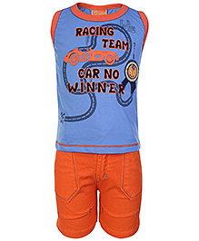 Little Kangaroos Blue Sleeveless T Shirt And Shorts - Racing Team Print