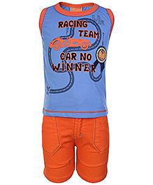 Little Kangaroos Blue Sleeveless T Shirt And Shorts - Racing Team Print