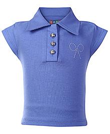 SAPS Cap Sleeves Collar Neck Top - Blue