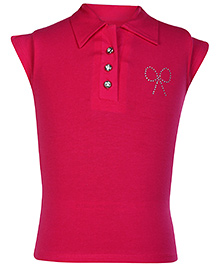 SAPS Cap Sleeves Collar Neck Top - Dark Pink