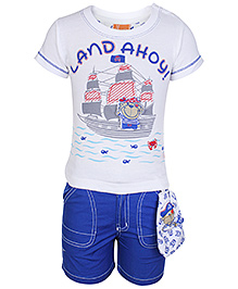 Little Kangaroos Blue Half Sleeves T Shirt And Shorts - Ship Print