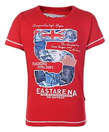 Little Kangaroos Red Half Sleeves T Shirt - Number 5 Print