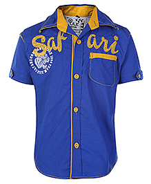 Little Kangaroos Half Sleeves Safari Print Shirt - Blue