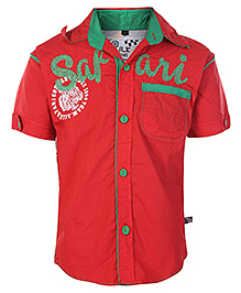 Little Kangaroos Half Sleeves Safari Print Shirt - Red
