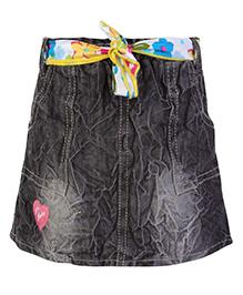Little Kangaroos Designer Skirt With Belt - Black