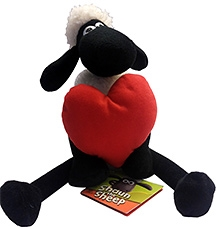Shaun the Sheep Sitting Plush with Heart Toy - 25 cm