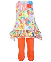 Little Kangaroos Sleeveless Printed Top And Legging Set - Orange