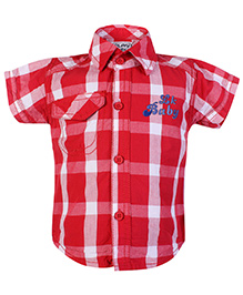 Little Kangaroos Half Sleeves Checks Shirt - Red