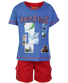 Little Darling Half Sleeves T Shirt And Shorts Surfing Print - Blue