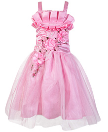 Little Kangaroos Singlet Party Dress With Satin Flowers - Pink