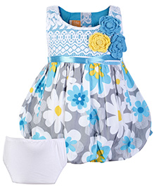 Little Kangaroos Sleeveless Frock With Bloomer - Blue