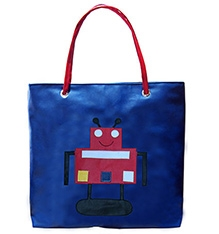 Herberto Shoulder Bag With Robot Patch Print -Blue