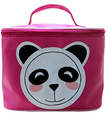 Herberto Travel Bag with Handle and Panda Face Patch - Pink