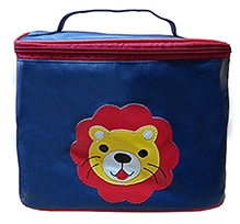 Herberto Travel Bag with Handle and Lion Patch - Navy Blue