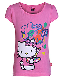 Hello Kitty Short Sleeves T-Shirt Pink - Painting Print
