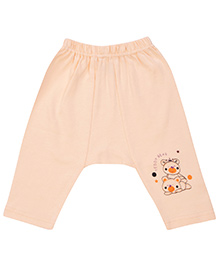 SAPS Full Length Daiper Leggings Teddy Print - Peach