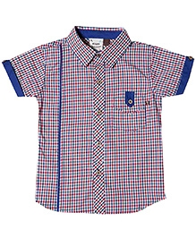 Fore Axel and Hudson Turn Up Half Sleeves Shirt - Red and Blue
