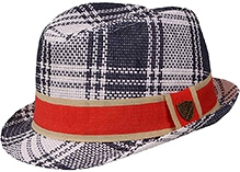 Fore Axel and Hudson Paper Straw Plaid - Navy And Cream Hat