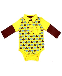 Fore Axel and Hudson Full Sleeves Spade Print Polo Onesies
