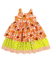 Jelly The Pug Floral Print Sleeveless Frock- Orange and Green