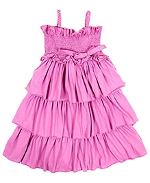 Jelly The Pug Singlet Multilayer Smocked Frock - Pink