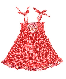 Jelly The Pug Polka Dot Print Smocked Panel Knot Tie Frock - Red