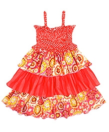 Jelly The Pug Singlet Flared Frock with Floral Print - Red