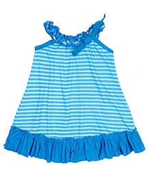 Jelly The Pug Strip Print Trapeze Frock- Blue