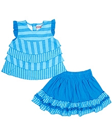 Jelly The Pug Stripe Tiered Sleeveless Top and Skirt Set - Blue