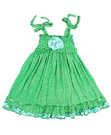 Jelly The Pug Polka Dot Print Smocked Panel Knot Tie Frock - Green