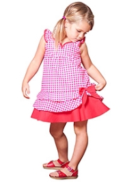 Jelly The Pug Sleeveless Frock Check Print With Bow - Pink