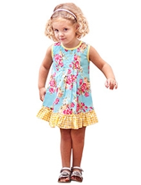 Jelly The Pug Floral Print Frock- Blue and Yellow