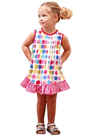 Jelly The Pug Rainbow Dots Print Frock- Pink