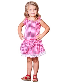 Jelly The Pug Singlet Teaberry Check Country Fair Dress