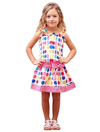 Jelly The Pug Singlet Rainbow Dot Country Fair Dress