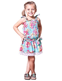 Jelly The Pug Singlet Blue Floral Country Fair Dress