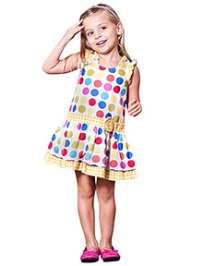 Jelly The Pug Sleeveless Rainbow Dot Jitterbug Dress