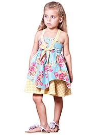 Jelly The Pug Blue Floral Haanky Hem  Dress 3-4 years