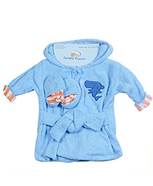 Luvable Friends Robe and Slippers - Blue Shark