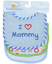 Luvable Friends I Love Mommy Bibs- Pack of 3