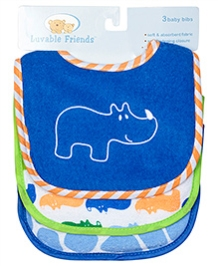 Luvable Friends Blue Hippo Baby Bibs - Pack of 3