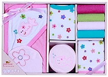 Luvable Friends Bath Time Set Pink- 9 Pieces