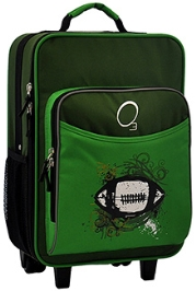 O3 Kids Green Football Trolley Bag With Integrated Snack Cooler - 16 inches